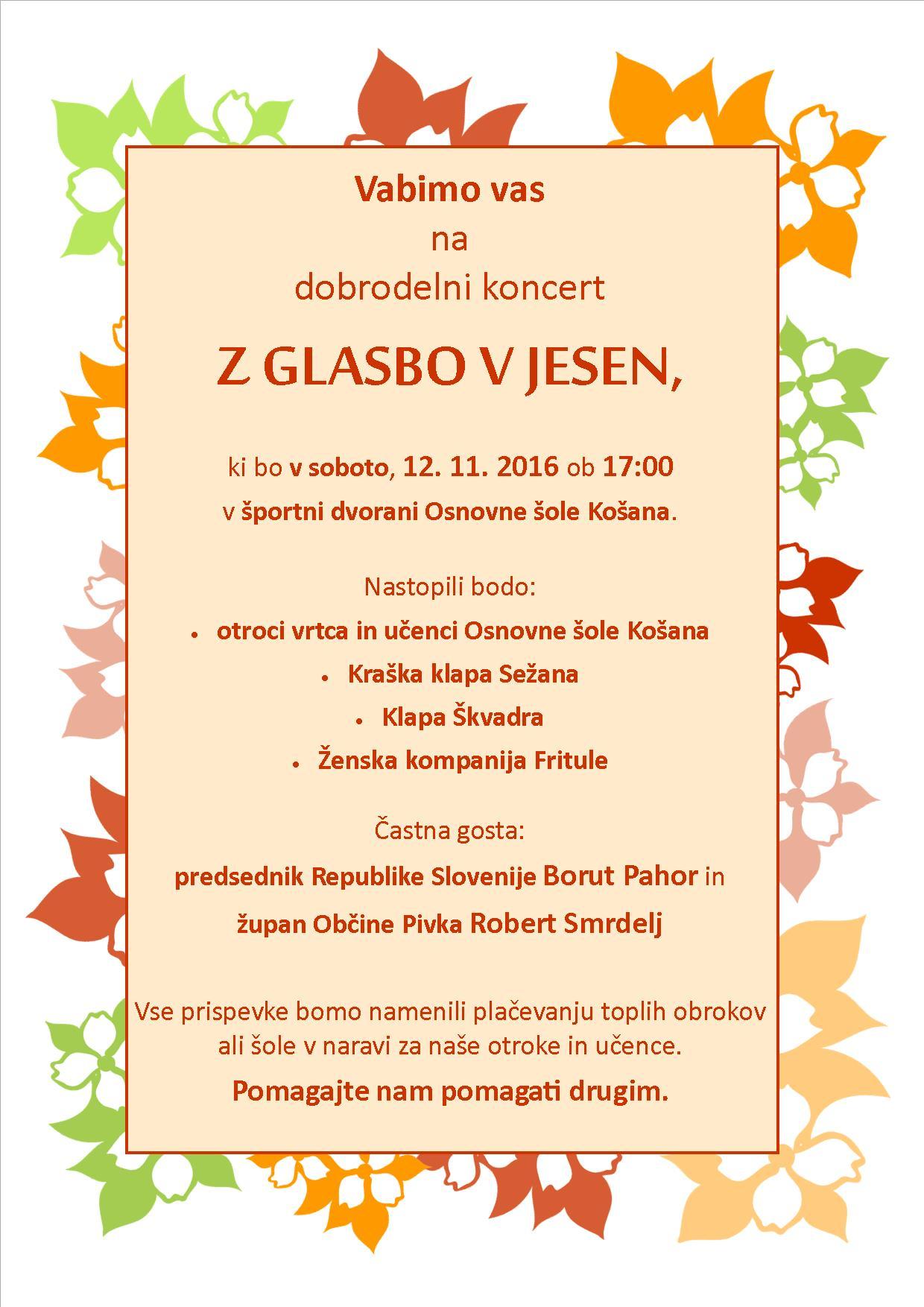 Dobrodelni koncert – 12. 11. 2016